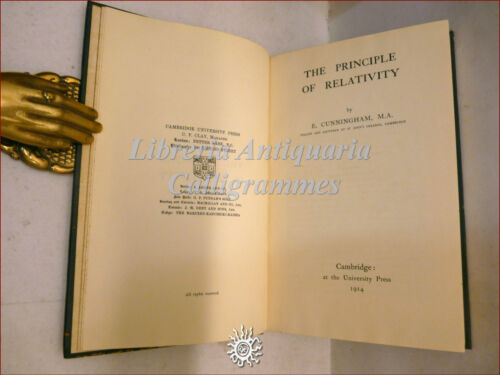 RELATIVITA': Cunningham, THE PRINCIPLE OF RELATIVITY 1914 Cambridge Minkowski 1a