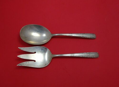 """Camellia by Gorham Sterling Silver Salad Serving Set 2pc AS FH 8 7/8"""""""
