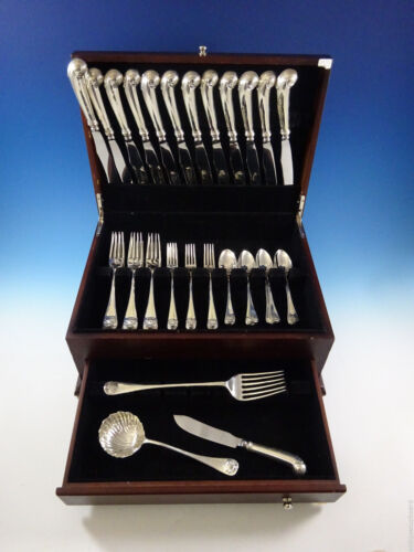 Williamsburg Shell by Stieff Sterling Silver Dinner Flatware Set Service 51 Pcs