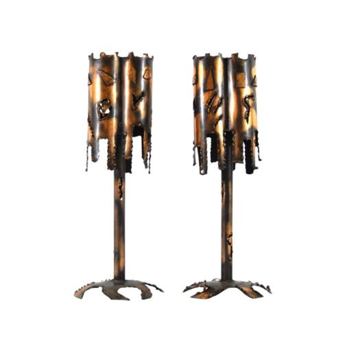 2 Mid Century Modern Brutalist Torch-Cut Metal/Copper Table Lamps by Tom Greene?