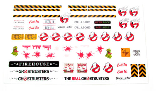 STICKERS for LEGO 21108 Ghostbusters Ecto 1 1a and Firehouse Customs Builds, Etc
