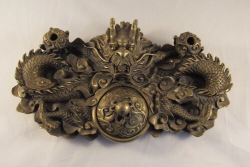 Brass Incense Burner. Dragon in Cloud Motif with Pearl Finial and Stick Holders