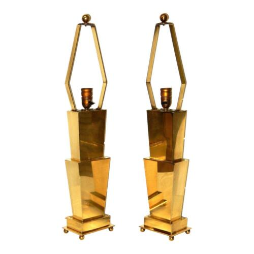 Mid Century Modern Solid Brass Table Lamps Style of Jere Hollywood Regency MCM