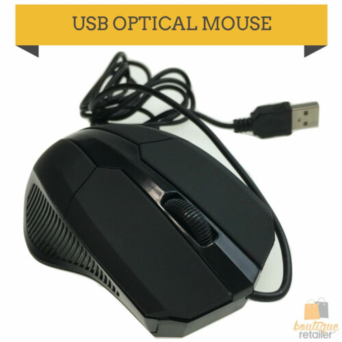 WIRED USB OPTICAL MOUSE Gaming PC LED Mice Computer Laptop 3 Button 1000 DPI New