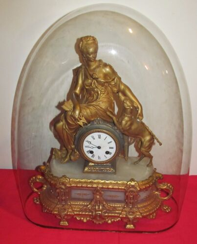 ANTIQUE HIGHLY GOLD GILT FRENCH CLOCK DEPICTING MAIDEN WITH WHIPPET - GLASS DOME