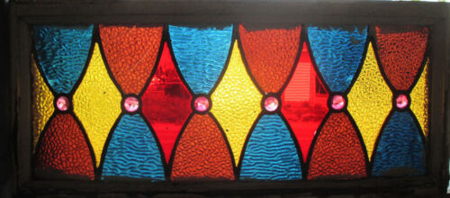 ANTIQUE AMERICAN STAINED GLASS TRANSOM WINDOW 26X11.5 ~ ARCHITECTURAL SALVAGE ~