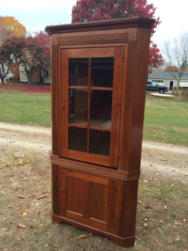Antique Pine 2 Piece Corner Cupboard Match Stick Moulding Possibly New Jersey