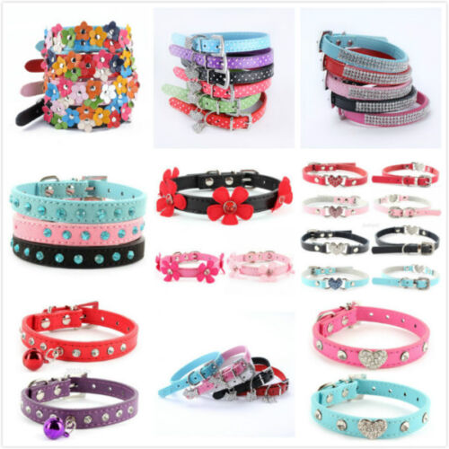 Adjustable Small Pet Dog PU Leather Collar Puppy Cat Buckle Neck Strap 16 Styles