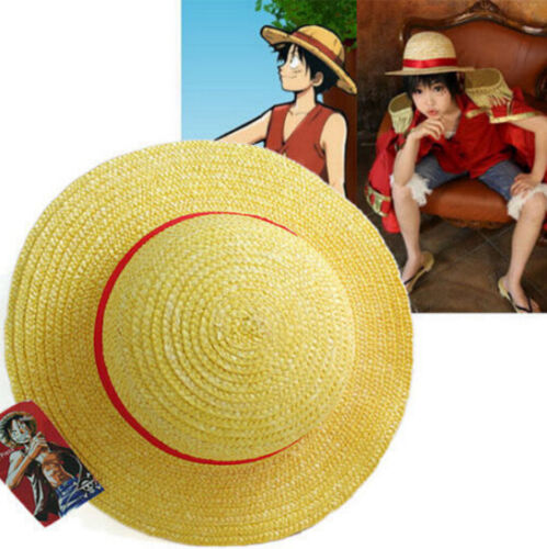 One Piece Luffy Anime Cosplay Straw Boater Beach Hat Cap Halloween Gift*