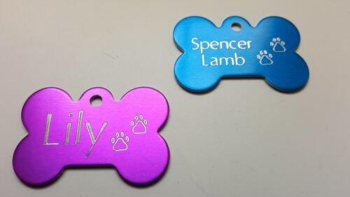 PET TAG BONE WITH PAWS DIAMOND ENGRAVED ID DOG TAGS 2-SIDE CUSTOM PERSONALIZED