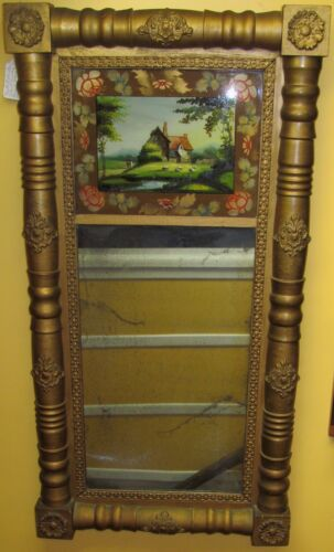 EARLY 19TH CENTURY SHERATON FEDERAL PERIOD REVERSE GLASS PAINTED ANTIQUE MIRROR