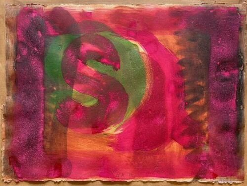 HOWARD HODGKIN 'Red Listening Ear' 1986 SIGNED Hand-Colored Etching (cat no. 74)