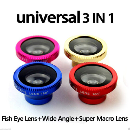 3 in 1 Camera Lens Fish Eye Wide Angle Macro Kit for Apple iPhone 5S 5C Android