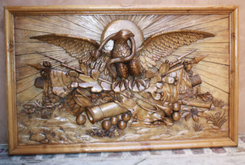 MAGNIFICENT 1930 AMERICANA RELIEF HAND CARVED WOOD PANEL FRAMED SIGNED H.MIEDER