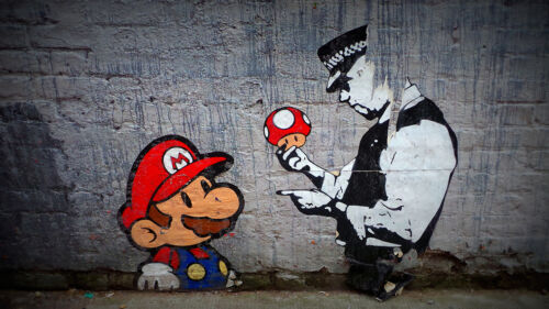 Art  Painting Print Large Canvas  Graffiti Street Banksy Mario Brother Police