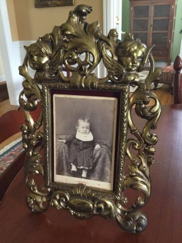 Antique Victorian Brass Picture Frame with Cherubs Ornate