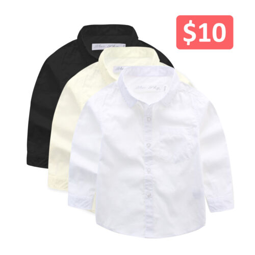Boys Polyester Button Up Long Sleeve Shirt Formal, Wedding, Communion sz 3–16