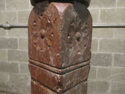 ~ ANTIQUE CARVED WALNUT NEWEL POST 45 TALL ~ ARCHITECTURAL SALVAGE ~