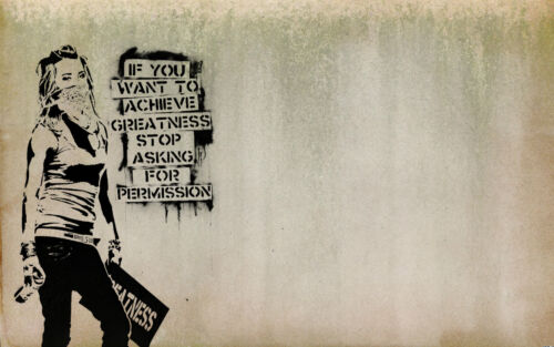 A0 SIZE PRINT BANKSY Graffiti Street Art Wall Decor CANVAS quote painting