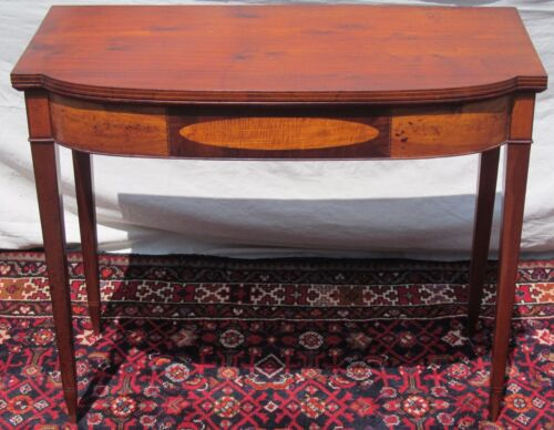 18TH CENTURY FEDERAL PORTSMOUTH NH MAHOGANY GAME TABLE-TIGER MAPLE & FLAME BIRCH