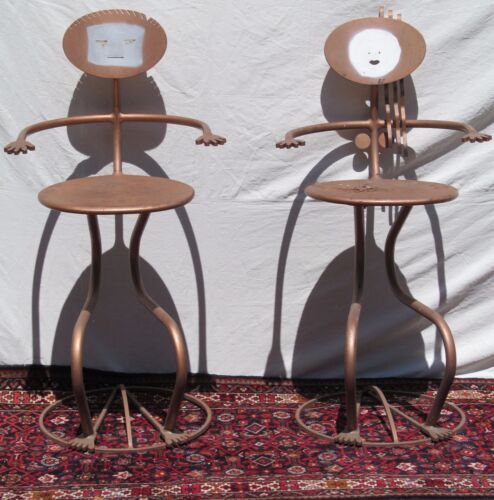FOLK ART SCULPTURE STEEL BAR STOOLS ATTRIBUTED TO JOHN RISELY