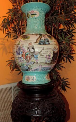 Rare Very Large Chinese turquoise Qianlong reticulated porcelain vase & table