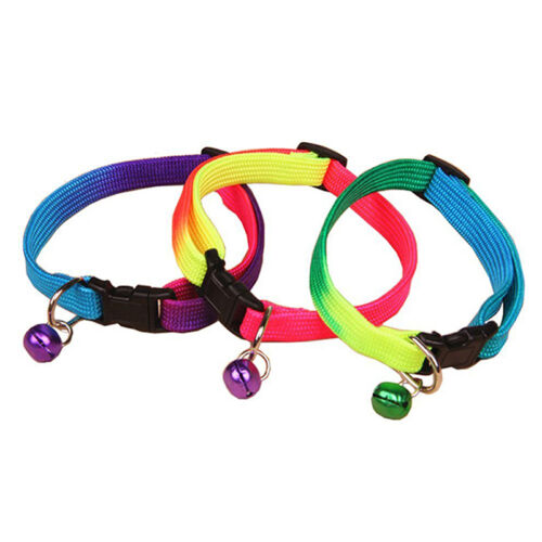 Pet Dog Puppy Cat Kitten Soft Adjustable Rainbow Collar Safety Buckle with Bell