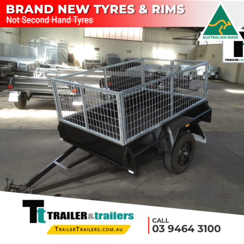 6x4 SINGLE AXLE CAGE TRAILER   2FT CAGE -750Kg GVM- CHECKERPLATE FL.   New Tyres