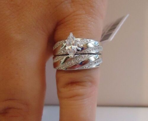 MARQUISE CENTER WEDDING RING & BAND SET W/  LAB DIAMONDS/ 925 STERLING SILVER