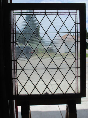~ ANTIQUE AMERICAN STAINED GLASS WINDOW ~ 36 X 43 ~ ARCHITECTURAL SALVAGE