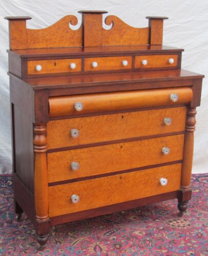 SHERATON BIRD'S EYE MAPLE & MAHOGANY CHEST OF DRAWERS WITH SANDWICH GLASS KNOBS