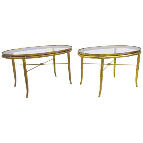 Pair Mid Century Mastercraft Oval Faux Bamboo & Glass Brass Cocktail Side Tables