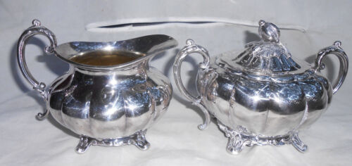 SHEFFIELD SILVERPLATE MELON SUGAR BOWL CREAMER 3 PC REPRODUCTION BY COMMUNITY