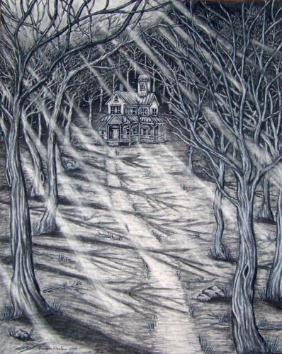 """ACEO Art Print Charcoal Drawing""""House In The Woods""""Haunted House Collector Card"""