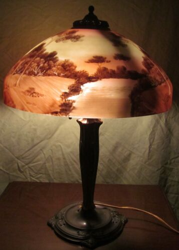 FABULOUS REVERSE PAINTED PITTSBURGH LAMP WITH BRILLANTLY PAINTED LANDSCAPE SCENE