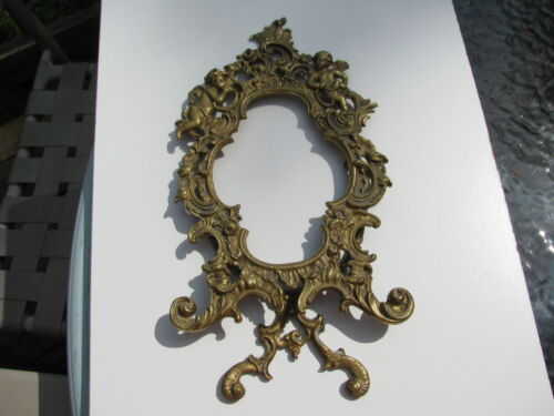 ANTIQUE CHERUB ANGELS PUTTI BRASS ROCOCO ORNATE FANCY EASEL STAND PICTURE FRAME