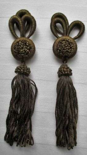 A Matching Set of Antique Gold Metallic Tassels Decorative Tops French