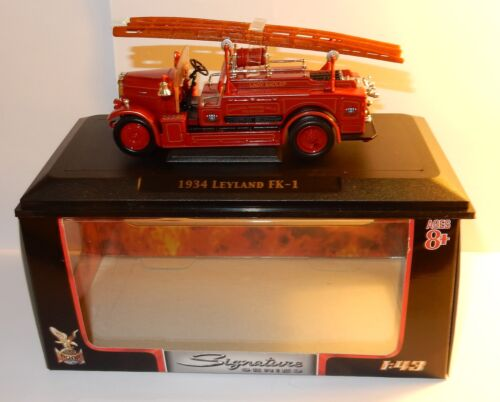 a YATMING YAT MING SIGNATURE CAMION 1934 LEYLAND FK-1 POMPIERS FIRE TRUCK 1/43