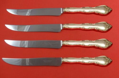 Rose Tiara by Gorham Sterling Silver Steak Knife Set 4pc Texas Sized Custom
