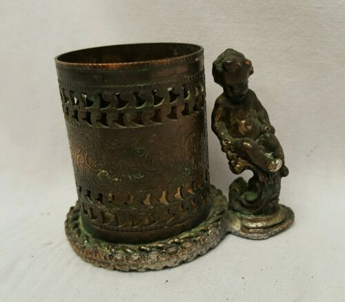 Vintage Figura cherrub silver Toothpick Holder Beautiful