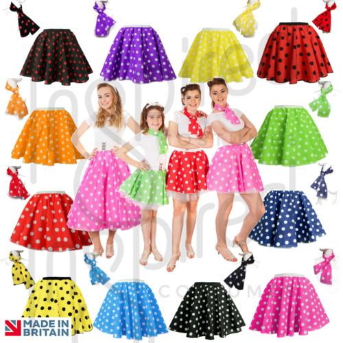 """GIRLS Kids 12"""" PINK POLKA DOT ROCK N ROLL 50s SKIRT & SCARF FANCY DRESS COSTUME  <br/> FREE SCARF Group Orders Welcome, All Sizes & Colours"""