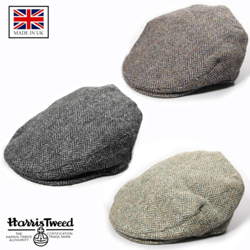 Genuine Harris Tweed Traditional Herringbone Flat Cap