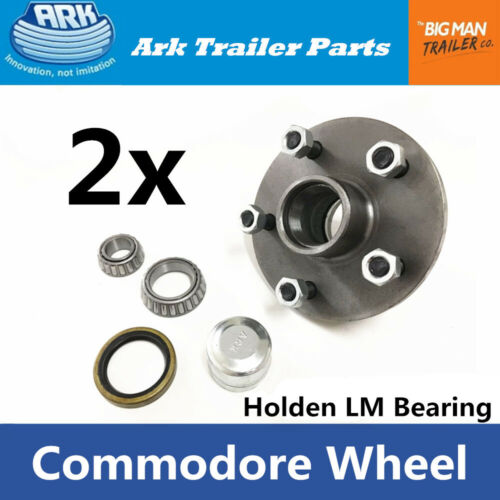 2xARK Trailer Hubs Commodore 5 Stud Wheel Lazy Hub Holden LM Bearings Kits CD150