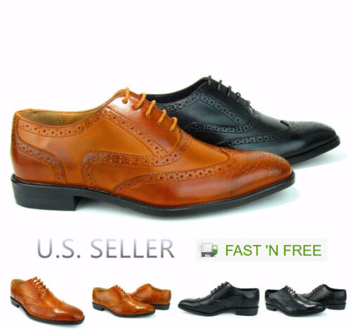 Men's Dress Shoes Full-Brogue Wingtip Formal Oxford Perforation Lace-up Closure