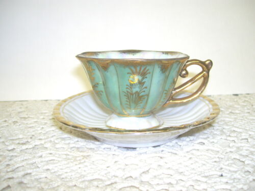 ANTIQUE DEMITASSE GOLD ON GREEN CUP & SAUCER STERLING CHINA MARKED JAPAN