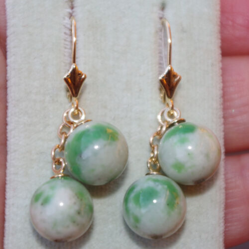 ANTIQUE APPLE GREEN 14K GOLD JADE JADEITE ELONGATED BALL LEVER BACK  EARRINGS
