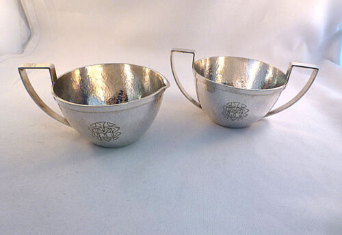 Marshall Fields Hand Hammered Colonial Sterling 2PC Creamer & Sugar