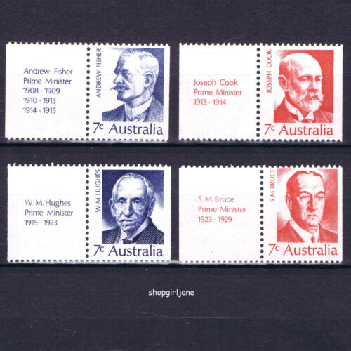 1972 - Australia - Prime Ministers - set of 3 with tabs - MNH