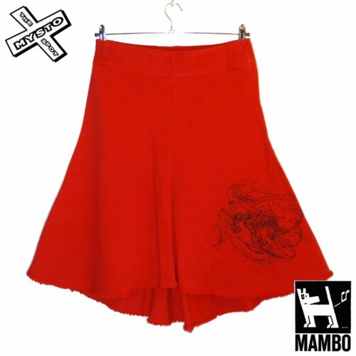 MAMBO GODDESS 'NEPTUNE' WOMENS SKIRT BRIGHT RED PLEATED A-LINE SURF UK 10 BNWT