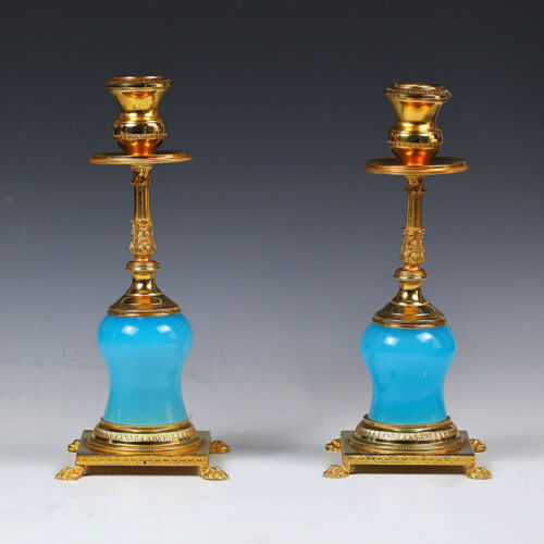 Pair Vintage to Antique Candleholders French blue opaline glass Ormolu mounts